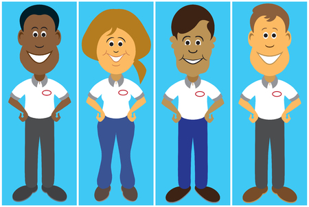 personable: Diverse group of smiling service people ready to assist customers Illustration