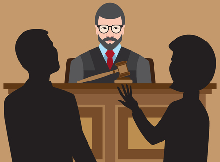 court process: Judge is listening to two lawyers argue their cases