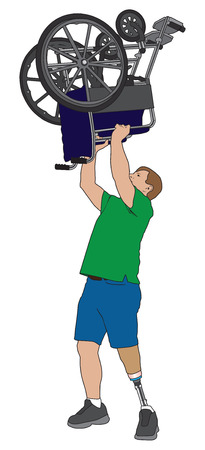 amputee: Left leg amputee triumphantly lifting his wheelchair over his head Illustration