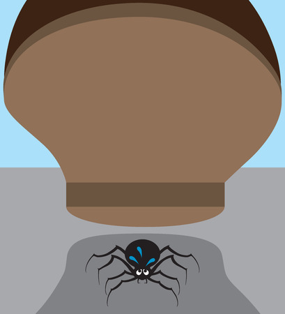 poison fang: Nervous spider about to be stepped on Illustration