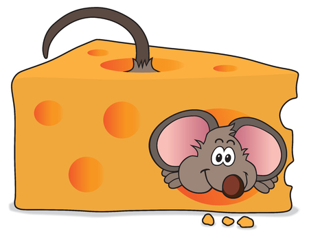 Excited mouse has just made his way through a slice of cheese
