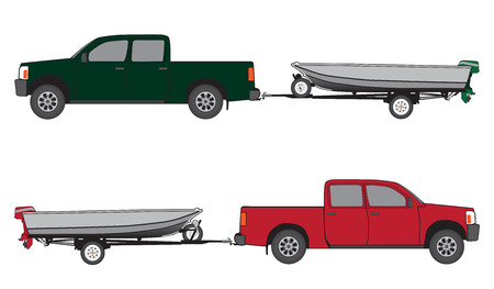 strapped: Pickup towing aluminum boat with outboard motor on trailer in two different color schemes