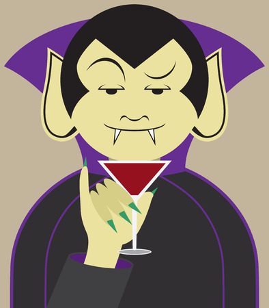 discriminating: Debonair vampire about to sample his favorite drink Illustration