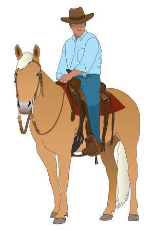 reins: Cowboy sitting astride his horse