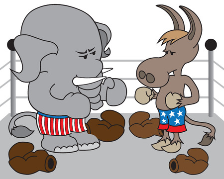 republican elephant: The Republican elephant and the Democrat donkey have taken the gloves off