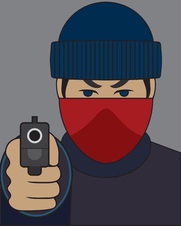 Mugger pointing gun at victim
