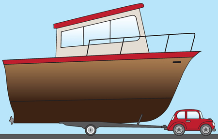 Small cartoon car is towing huge boat to the water