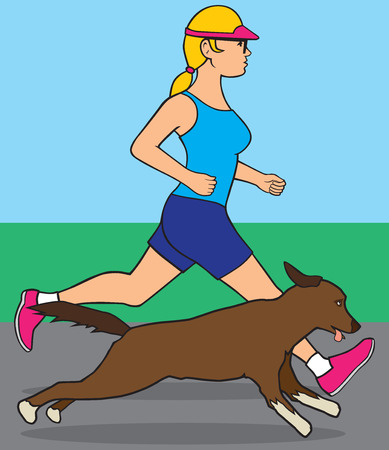 canine: Young female jogger out for a run with her canine companion Illustration