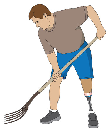 tines: Left leg amputee is using a pitchfork on a project Illustration