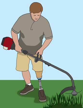 Left leg amputee using weed whacker in his yard Çizim