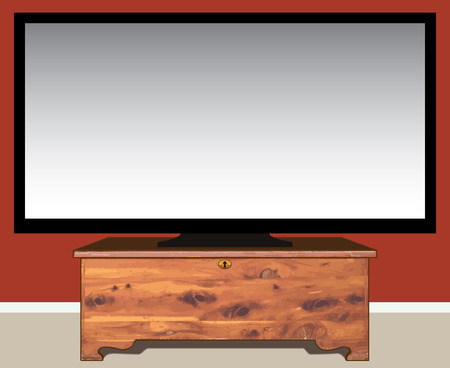 storage device: Large television resting on old fashioned cedar chest