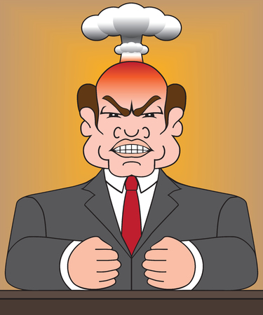 Angry man in suit is blowing his top Illustration