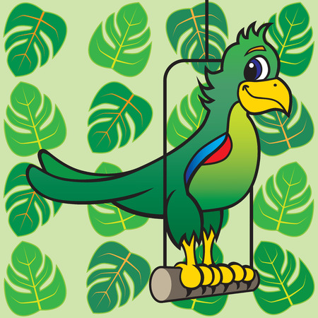 Cartoon parrot resting on perch against a backdrop of tropical leaves