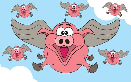 Herd of happy flying pigs soaring through the sky