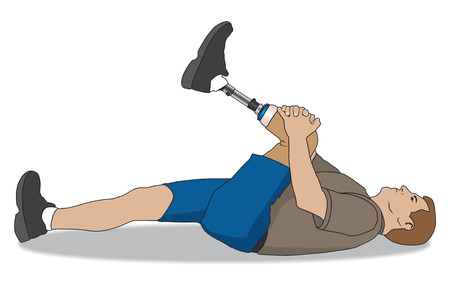 amputee: Left leg amputee lying on the floor warming up