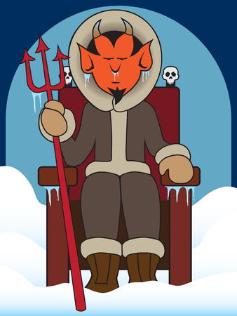 Devil sitting on his throne in a frozen hell Ilustração