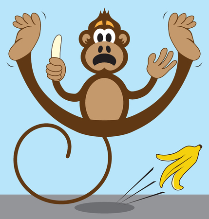 Cartoon monkey is slipping on a banana peel that he has just discarded