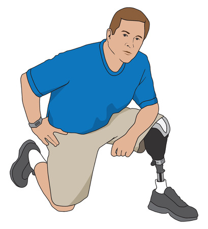 Left leg amputee kneeling on floor