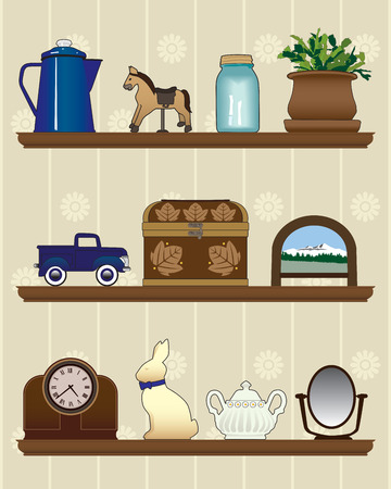 Three wooden shelves with collectible decorations Illustration