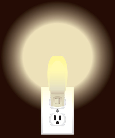 turned: Night light is plugged into outlet and turned on Illustration