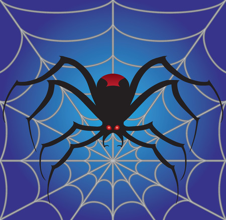 Creepy spider is resting on his stylized web Illustration
