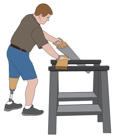 Left leg amputee using sawhorses to cut a board