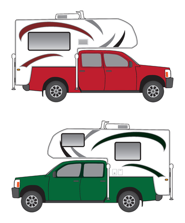 Pickup with camper in two different color schemes