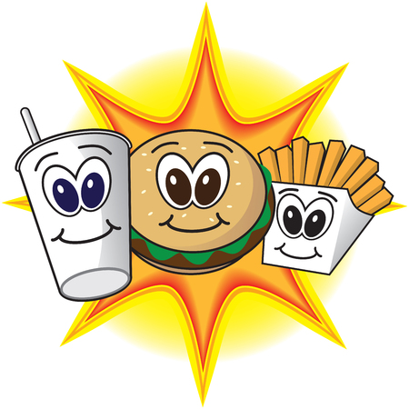 Smiling cartoon fast food meal in front of bright flash Illustration