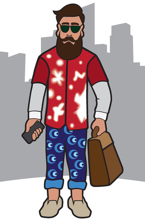 counterculture: Modern hipster with cell phone and bag ready to do the town Illustration