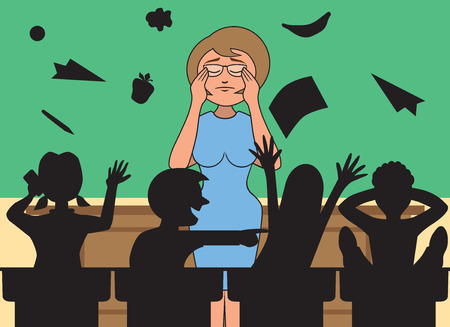 Profesor de escuela elemental se ve frustrado por niños escandalosos