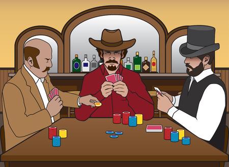 Trois anciens joueurs ouest bénéficiant d'un jeu de cartes dans un saloon Banque d'images - 66155789