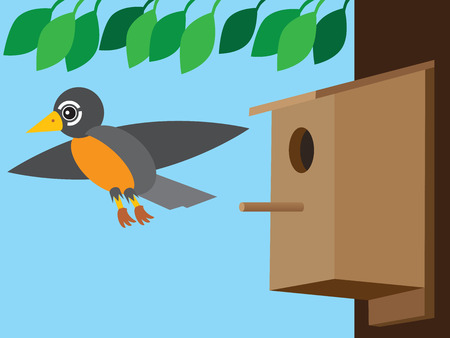 Flat vector robin is flying away from birdhouse attached to a tree