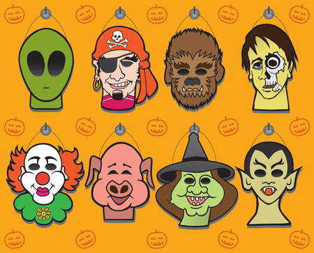 Eight Halloween masks hanging on a store wall