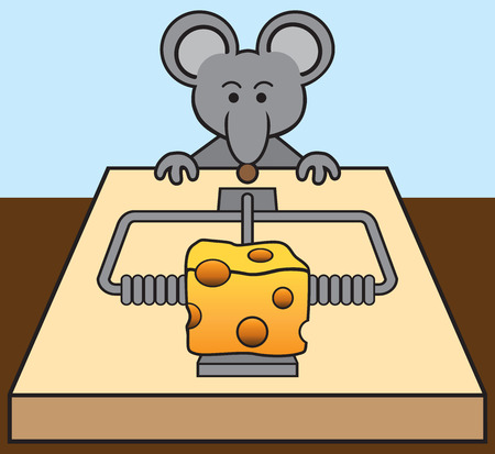 plotting: Hungry mouse being tempted by the cheese in a mousetrap