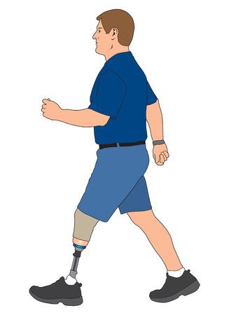 Linkes Bein amputierte männlich für einen Spaziergang