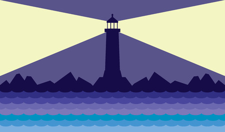 Lighthouse on the coast is beaming its warning signal Ilustração