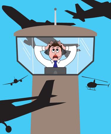 航空交通管制官が航空機彼のタワーを囲むようにパニックします。