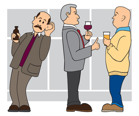 Man at cocktail party is trying to listen in on a conversation Stock Illustratie