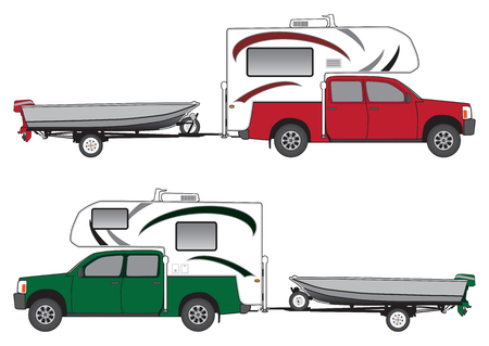 Pickup with camper towing boat on trailer in two different color schemes
