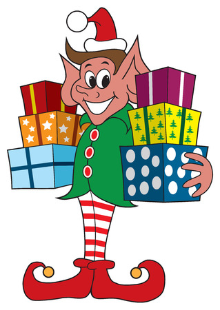 delivered: Smiling Christmas elf is holding presents that are ready to be delivered