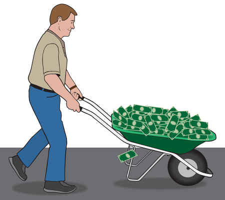 winnings: Man is using a wheelbarrow to bring home his winnings Illustration