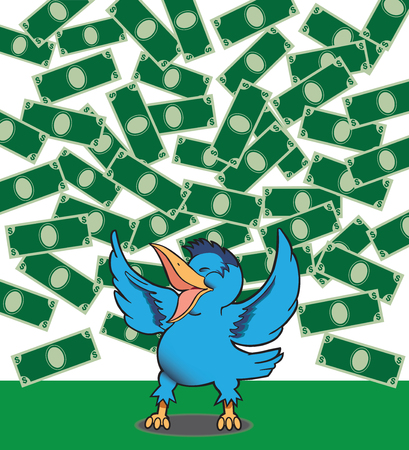 lighthearted: Happy bluebird is celebrating the fact that money is falling from the sky