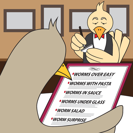Bird in fancy restaurant is looking at menu and trying to decide which worm entree to have Illustration