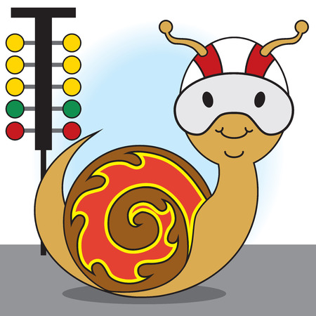 Snail in helmet with graphics on shell is getting ready for the race Çizim