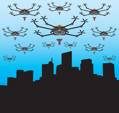 holocaust: City is under attack by a multitude of drones with bombs