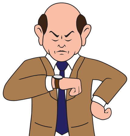 gazing: Irritated cartoon businessman is glaring at his watch