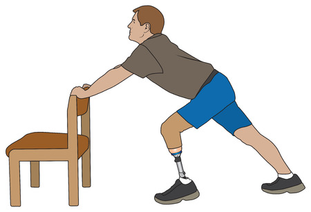 Left leg amputee is using a chair to warm up for his exercise routine