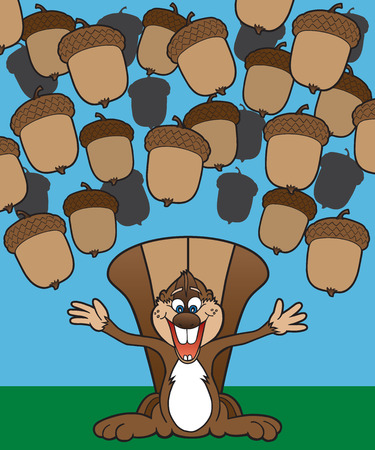 and delighted: Cartoon squirrel is delighted that acorns are falling from the sky