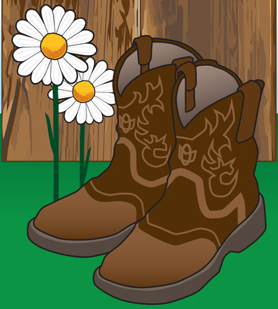discarded: Cowgirl has left a pair of boots near a fence and flowers Illustration