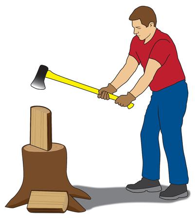 De mens is met behulp van een bijl om brandhout te splitsen
